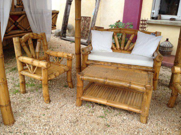 Salon exotique en bambou