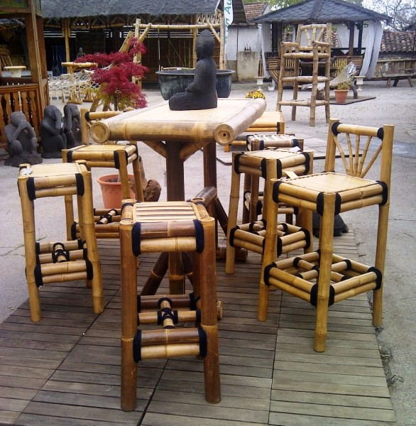 Tabouret de bar en bambou - Vente abris de jardin en bambou et ...