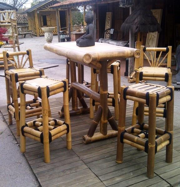 tabouret de bar en bambou sans dossier vente abris de jardin en bambou et mobilier exotique. Black Bedroom Furniture Sets. Home Design Ideas