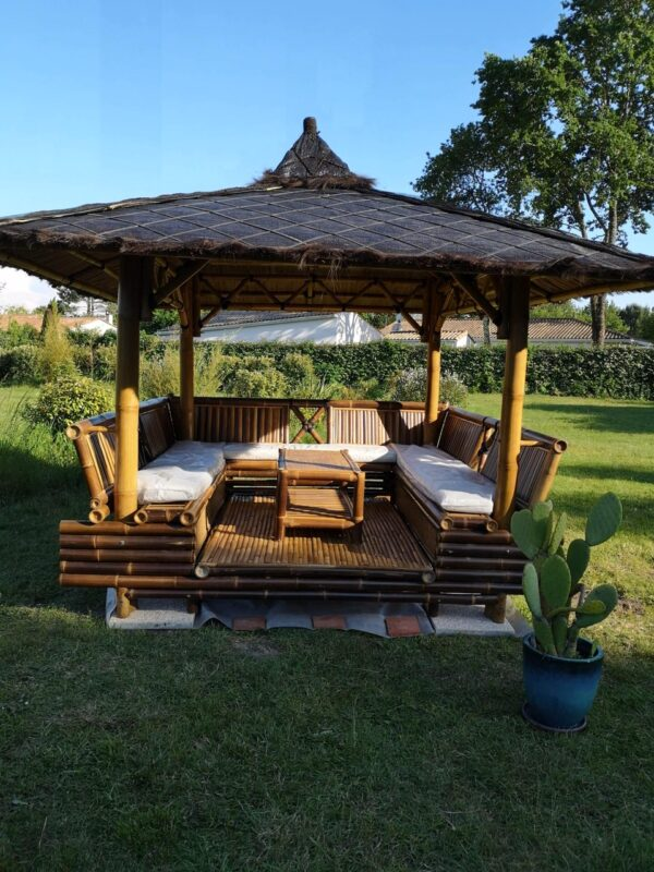 Gazebo Lounge en bambou noir