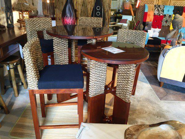 Double table haute + 4 tabourets assortis - Vente abris de jardin en ...